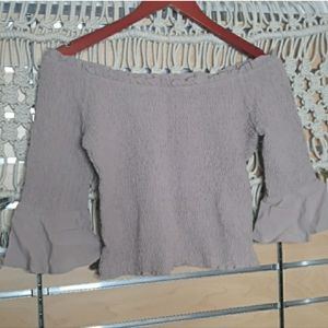 Honey Belle mauve smocked bellsleeve crop top